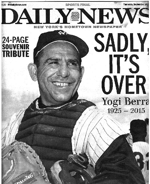 The cover of the 26-page spread The Daily News dedicated to Berra.