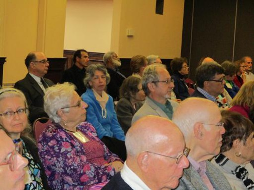 The alumni attentively listening to the Political Science Panel. Second from left, Fiorella Kelley, Class of 1972