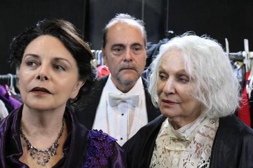 Left: Sharon Ullrick as Bernhardt. Center: Eduardo Machado as Duse's acolyte. Right: Lorinne Vozoff as Duse. Photo by Remy.S.