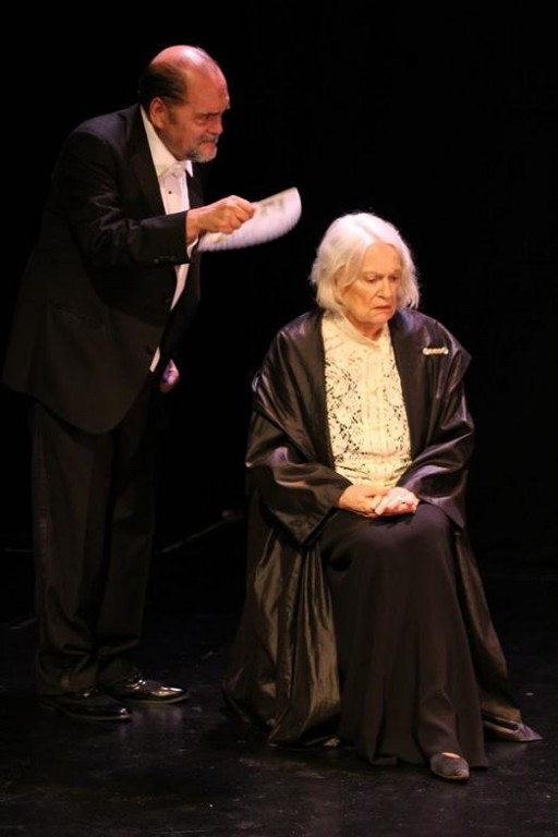 "Eduardo Machado as Eleonora Duse's acolyte and Lorinne Vozoff as Duse in ""Acting"" by Eduardo Machado"