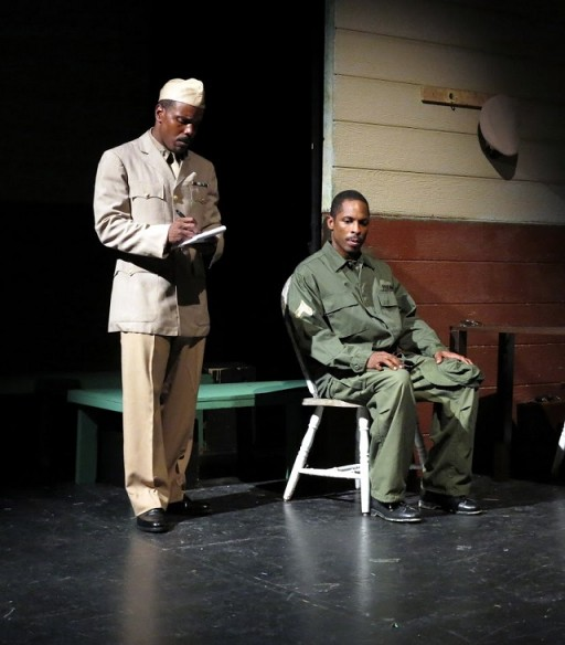 Chaz Reuben as Capt. Richard Davenport and Jay Ward as Cpl. Bernard Cob. Photo by Jonathan Slaff.