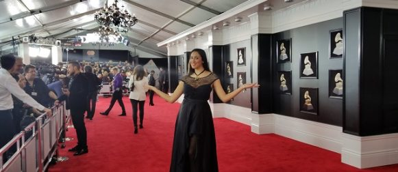 Pamela Quinzi, Celebrity Fashion Designer, walks the Red carpet of The 60th Grammys in New York