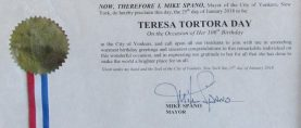 January 25th was Teresa Tortora Day in Yonkers!